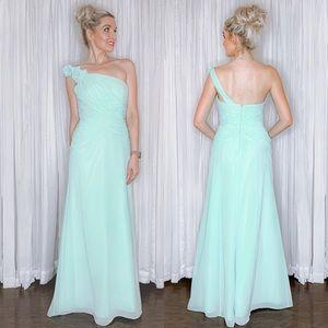 Mint Green Long Bridesmaid Homecoming Prom Dress